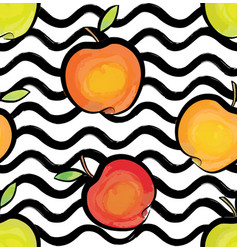 fruit wave seamless pattern with apple food vector image