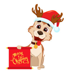Funny dog wearing santa claus hat and deer vector