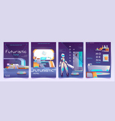 Futuristic hotel banners set apartment posters vector