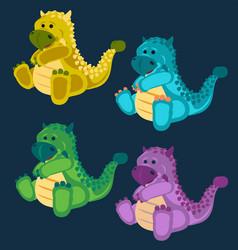 green toy baby dinosaur set vector image