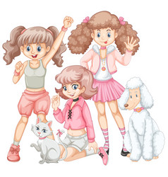 Group girls and pets vector