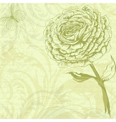 grungy retro background with rose flower vector image