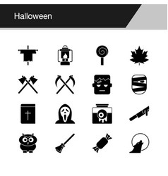 halloween icons design for presentation graphic vector image
