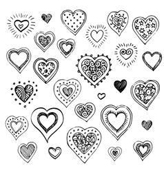Hand drawn sketch set of hearts vector