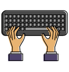 hands user with keyboard vector image