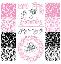 Happy birthday calligraphy and ornament1 380 vector
