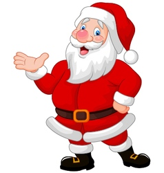 Happy Santa cartoon waving hand vector image