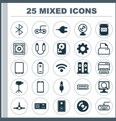 hardware icons set collection of file scanner vector image