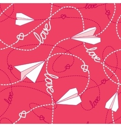 Hearts paper airplanes love seamless pattern vector
