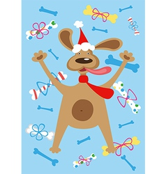 Holiday dog vector image