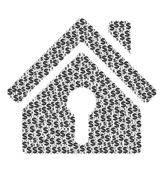Home keyhole collage of dollar and dots vector