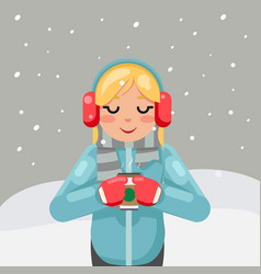 hot drink tea coffee winter cute girl cup flat vector image