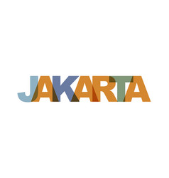 jakarta phrase overlap color no transparency vector image