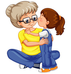 Little girl kissing grandmother on white vector