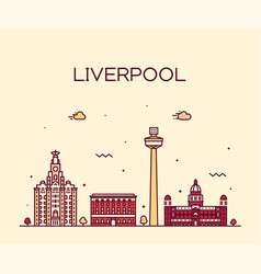 liverpool city skyline north west england vector image
