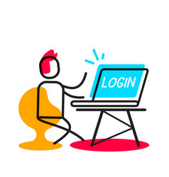 Login user authorization linear concept business vector