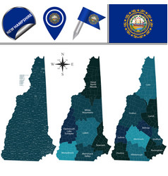 map of new hampshire with regions vector image