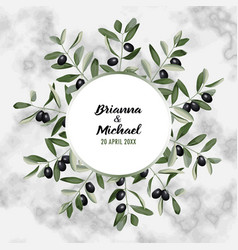 marble wedding invitation card with olive brunches vector image