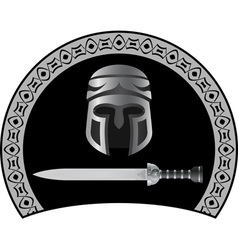 Medieval helmet with sword second variant vector