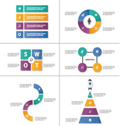 Multicolor presentation templates Infographic set vector