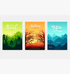 Nature brochure cards set ecology template vector