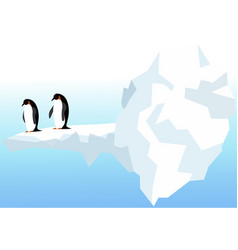 nature landscape with penguins ocean and icebergs vector image