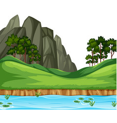 nature river landscape background vector image