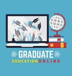 Online education graduate flat concept vector
