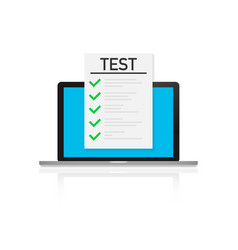 Online exam checklist and pencil taking test vector