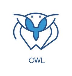 owl logo design blue label badge or emblem vector image