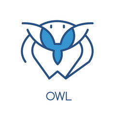 owl logo design blue label badge or emblem with vector image