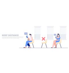 People keep distance in public area entitle empty vector