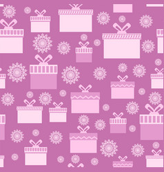pink wrapping christmas seamless paper with boxes vector image