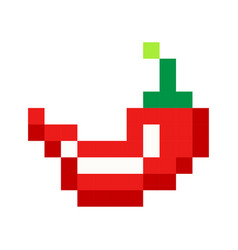 pixel red hot pepper art cartoon retro game style vector image