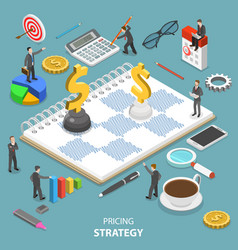 Pricing strategy flat isometric concept vector