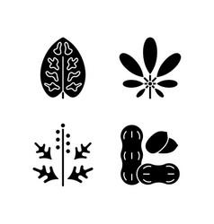 Reason for allergy black glyph icons set on white vector