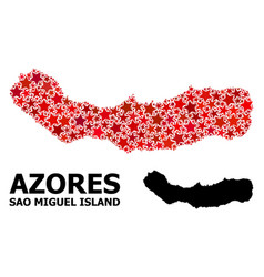 Red starred mosaic map sao miguel island vector