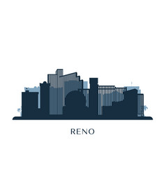 reno skyline monochrome silhouette vector image