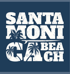 Santa monica tee print with surfboard and palms vector