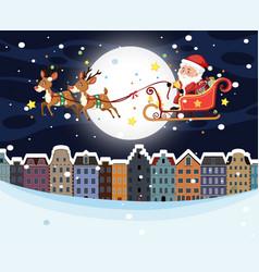 santa riding sleigh over town vector image