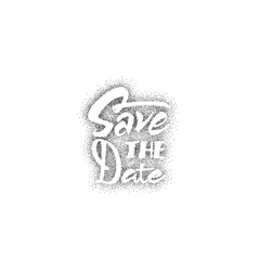 save date - dotwork calligraphic lettering vector image