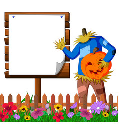 scarecrow cartoon holding scary pumpkin vector image