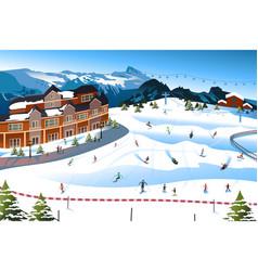 Scene in a ski resort vector