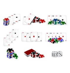 Set of casino chips and cards vector image