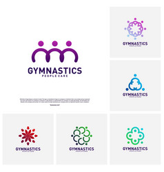 set of people healthy logo design concept vector image