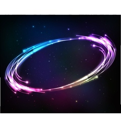 Shining neon lights cosmic abstract frame vector image