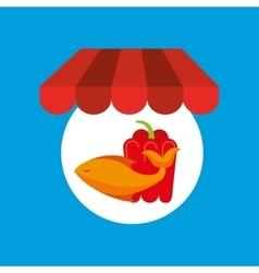 Shopping online food fresh fish pepper vector
