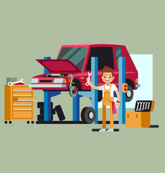 Smiling professional car repair man fixing vector