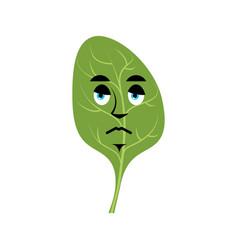 Spinach sad emoji green leaves sorrowful emotion vector