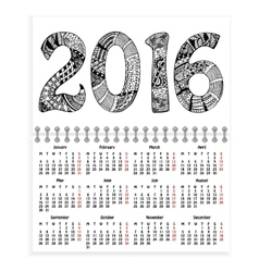 Spiral calendar with ornate 2016 as cover vector
